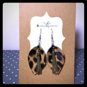 2/$20 Custom Leather Earrings: Leopard Pinched